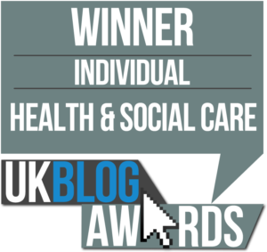 this image shows that I won the Health and Social care category at the the Uk Blog awards 2016