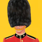 this image shows a painted picture of one of the Queens guards in his red jacket and busby