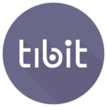 this image shows the word TIBIT in a mauve circle