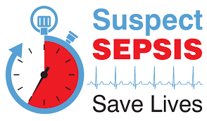this image shows a stop watch and says suspect sepsis
