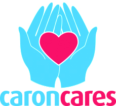 this is the caron cares logo. It shows two hands in blue holding a red heart with the words Caron Cares underneath.