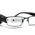 this image shows smart eye glasses. Wearable tech to help people with sight loss.
