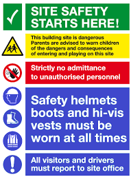this image shows a building site safety notice