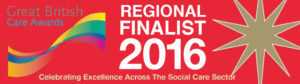 this image shows the banner for the GB care awards, Regional finalist