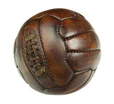 this image shows an old leather football