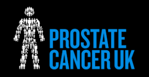 "this image shows a figure of a man against a black background and the words ""Prostate Cancer' in a bright blue"
