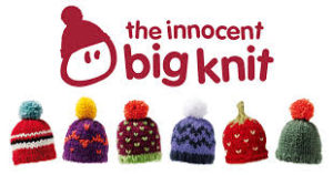 "this image shows the little hats knitted by people for the innocent smoothies ""Big Knit"""