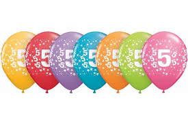 this image shows a row of 5th Birthday balloons