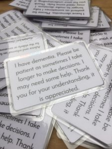 this image shows a simple card to help people with the early stages of dementia remain independent longer.