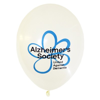 this image shows a balloon from the alz society. It is white with a blue flower.