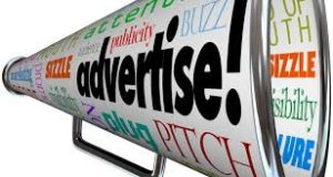 this image shows a loud hailer with words to do with advertising such as Buzz and Pitch