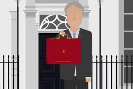 `this image shows a cartoon of the Chancellor of the Exchequer out side Downing Street holding the Budget briefcase.