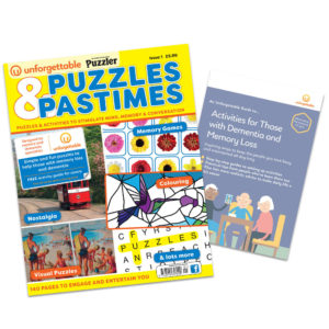 this image shows a puzzle book especially designed for people with dementia.