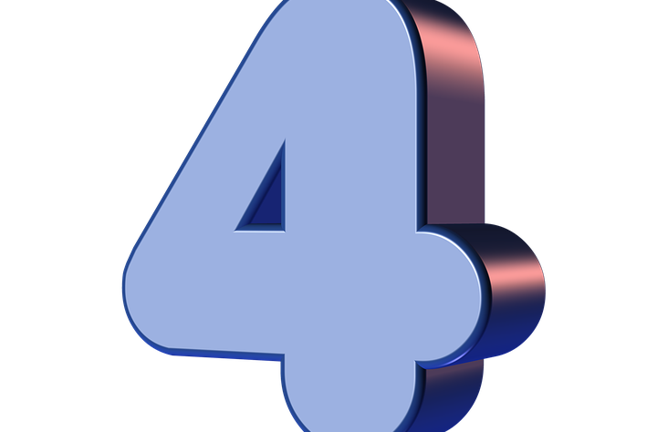 This image shows the number 4 in blue