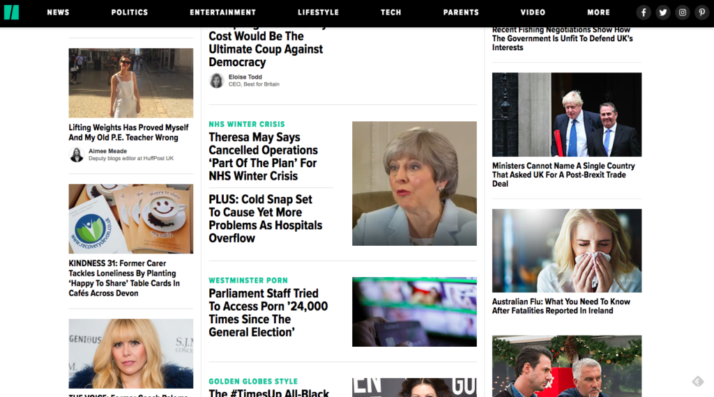 this image shows the thumnail images on the front page of the Huffington Post UK