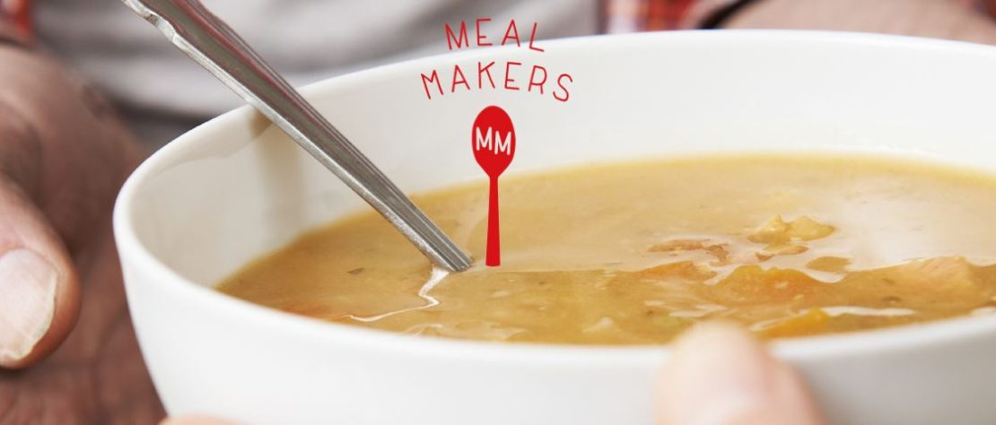 this image shows a bowl of soup and a meal makers logo