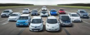 This image shows a selection of electric cars.