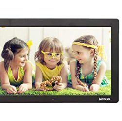 this image shows a digital display frame and the photo shown is of 3 young girls laying on their fronts chatting