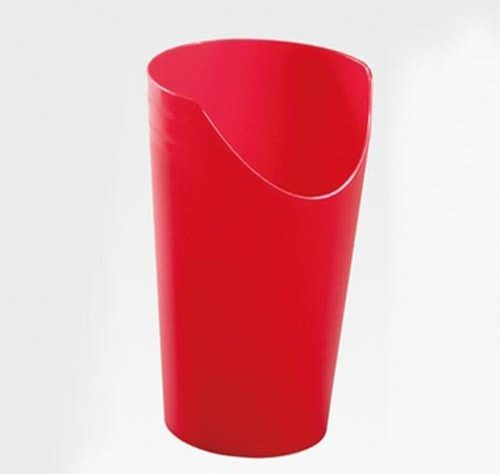 This image shows a red plastic cup with a section cut away.