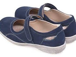 This image shows a pair of blue ladies cross bar sandles