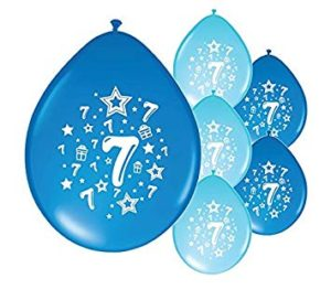 This image shows balloons with the number 7 on them
