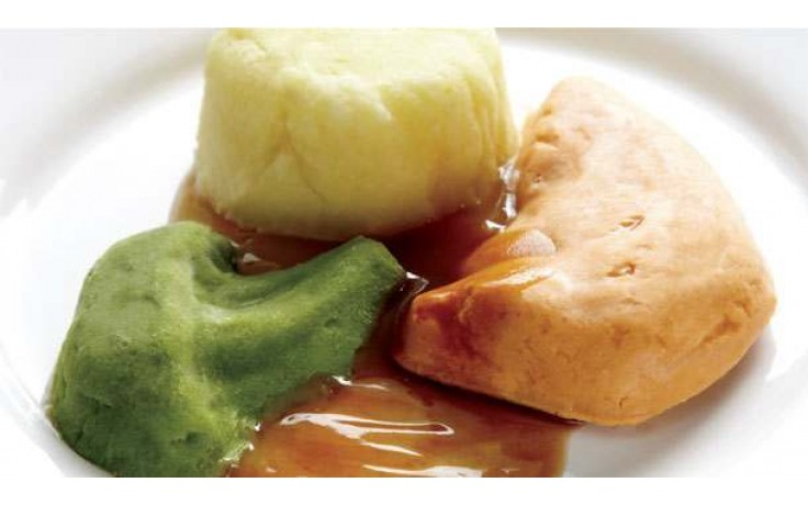 this image shows vegetables pureed and then reformed into their former shape using a silicone mould