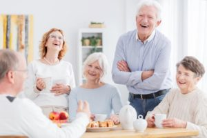 this shows a group of older people who are supposed to look elderly but look very young!