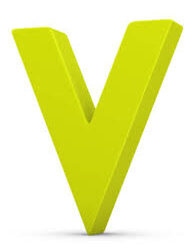 This image shows a bright green letter V