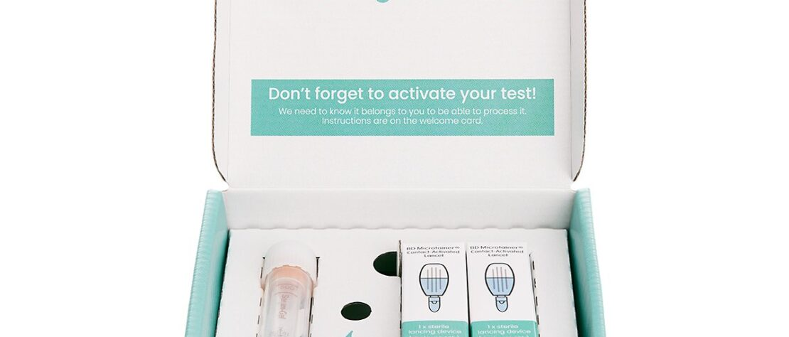 This image shows the contents of the Klarify.me home testing kit