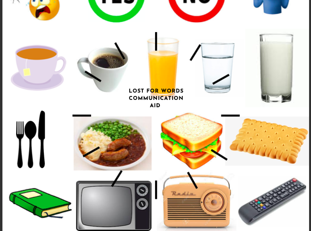 This image shows a sheet with multiple images on. The images are of everyday items someone might need